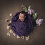 cute newborn in flower basket